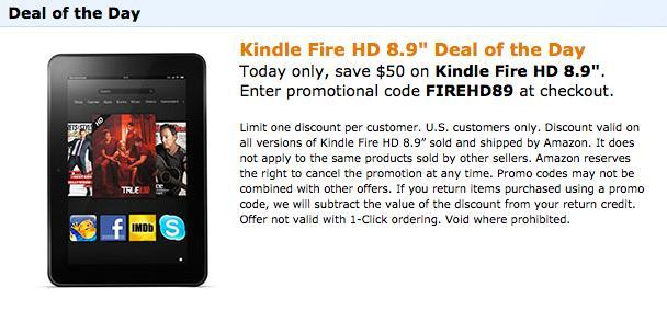 Kindle Fire 8.9 deal 12/10/12
