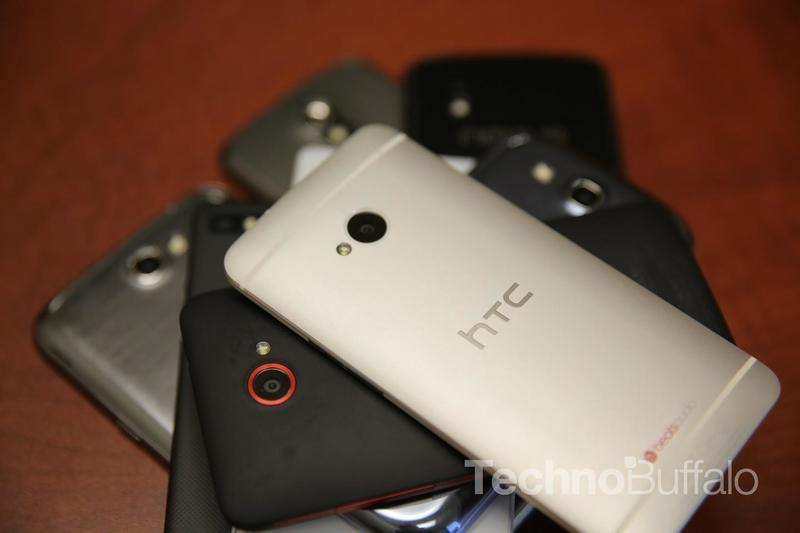 HTC One Rear Camera on Top of a Stack of Phones