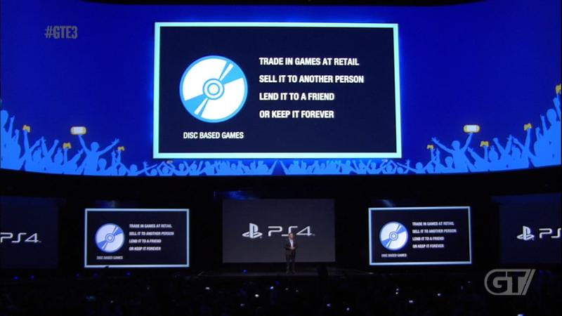 E3 2013 - Sony - PS4 - Supports Used Games - Disc Based Games