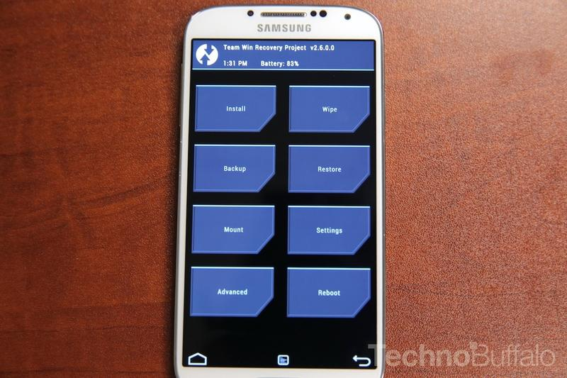 Rooting Galaxy S4 - TWRP Home Screen