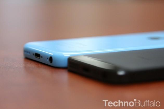 iPhone 5C in Blue with iPhone 5 bottom angle
