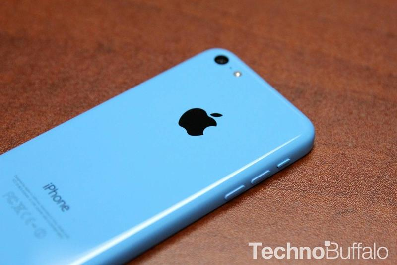 iPhone 5c in Blue Apple logo angle