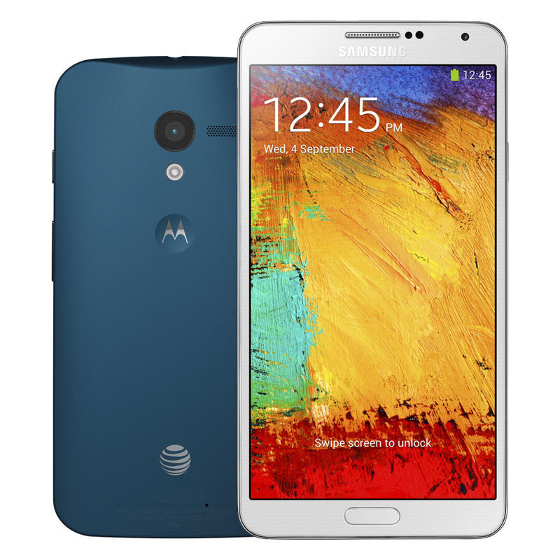 Moto X - Hero - Product - Royal Blue and Galaxy Note 3