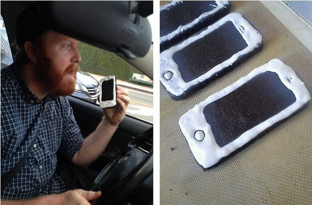 Man Gets Pulled Over for Eating iPhone Shaped Cookies While