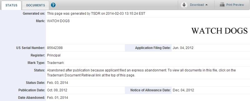 Watch Dogs Trademark Abandonment