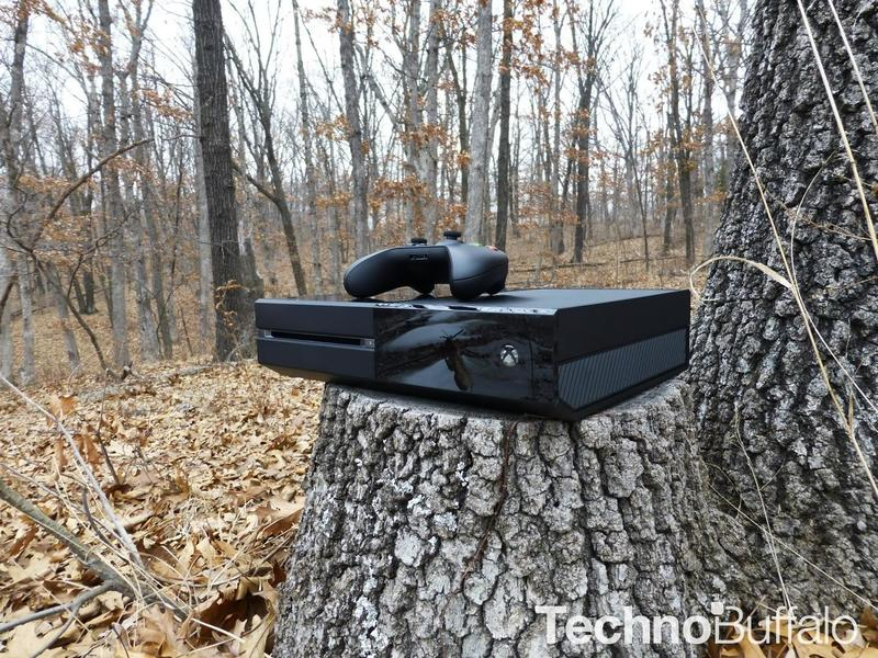 Xbox One and Controller in the Woods -05