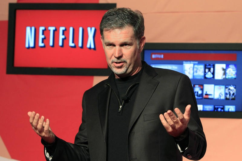 Netflix CEO Hastings speaks during the launch of streaming internet subscription services for movies and television shows in Toronto