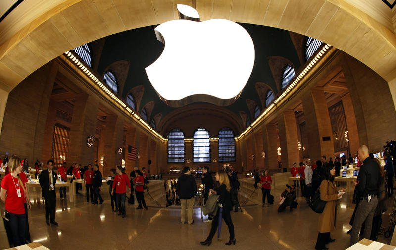 The Apple Inc. logo hangs inside the newest Apple Store in New York City's Grand Central Station