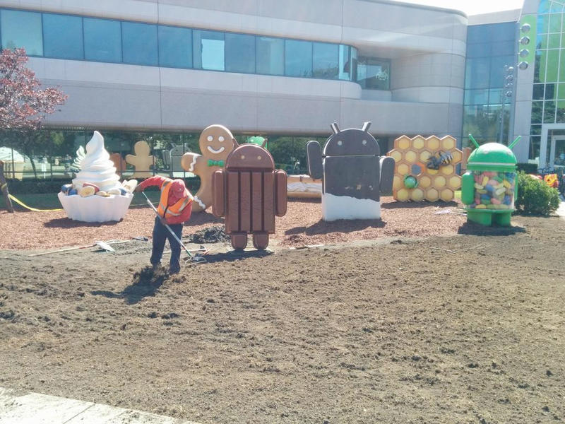 Android Statues Yard Prep