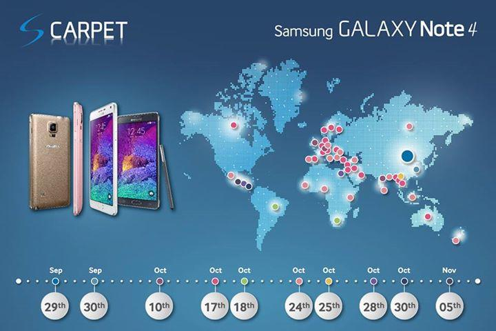 galaxy note 4 release dates graphic