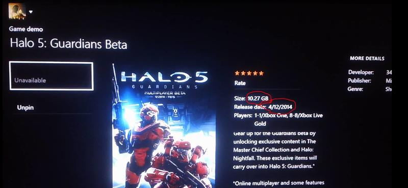 Halo 5 Guardians Beta Download Size