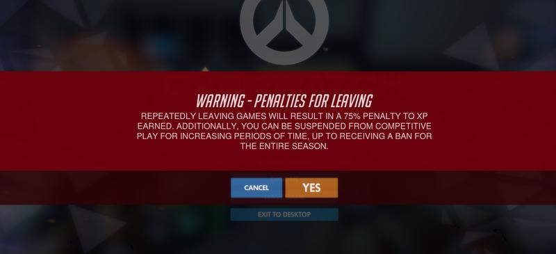 OW Competitive Play Quit Early Penalty