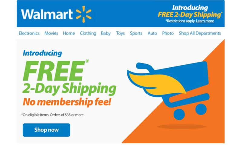 2e750b6eeb1 Walmart on Tuesday announced that it will now offer all of its customers  free two-day shipping providing they spend at least  35.
