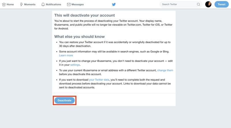How to Delete Your Twitter Account - Twitter Deactivate Button