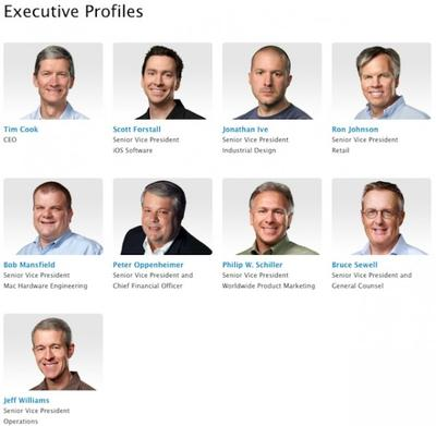 Apple Executive Profiles page with Tim Cook as CEO