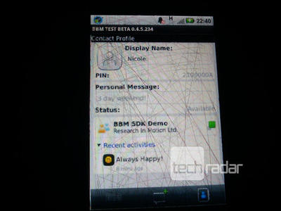 BBM on Android contact info