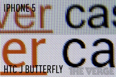 HTC J Butterfly vs iPhone 5 display