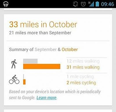 Google Now walking cycling