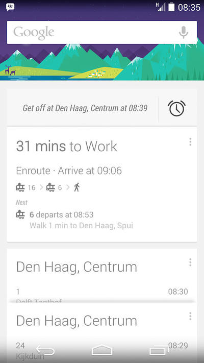Google Now public transport alarm