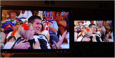 Side by side comparison of an over the air HD feed displayed on a Windows Media Center PC, compared to CBS All Access running on a Lenovo Thinkpad X230