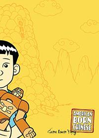 A Chinese boy holding a toy is against a yellow background on the cover of American Born Chinese