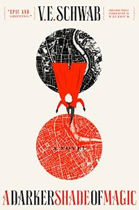 A red clad figure falls between a black map and a red map on the cover of A Darker Shade of Magic