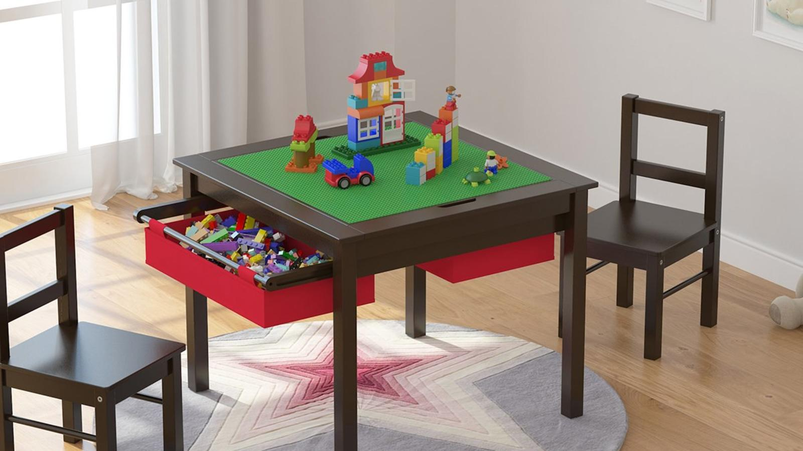 Utex Lego Table With Chairs, Lego Table With Storage Triangle And 3 Chairs