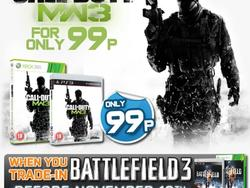 Trade Battlefield 3 in, get Modern Warfare 3 for 99p