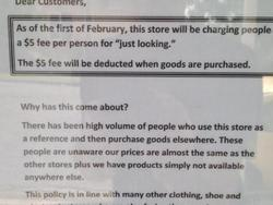 """Store Levies $5 Fee To Stop Web Shoppers From """"Just Looking"""""""