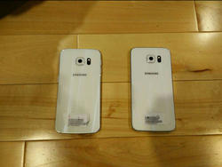 Leaked Galaxy S6 and S6 Edge photos show the phones powered on