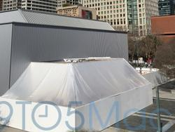 Apple constructs demo building outside Yerba Buena for March 9 event