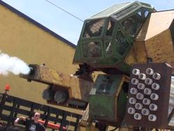 Kickstart this giant American fighting robot