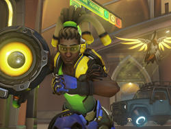Overwatch as Lúcio's voice actor talks to other heroes in real life