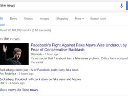 Fake news appearing on social media and in Google search results