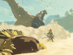 Zelda player shoves a Guardian all the way to the Gerudo desert to battle a sandworm