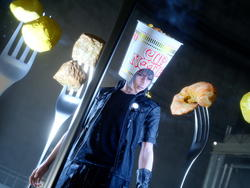 Because Final Fantasy XV can still get a lot goofier, here's Noctis with a DLC Cup Noodle helmet
