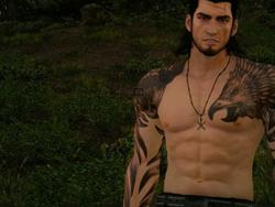 """Final Fantasy XV's Gladiolus DLC has a """"Rugged Attire"""" armor that doesn't have much attire to it"""