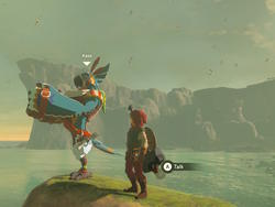 Zelda player pushes Kass, the accordion playing bird, across the map to another Kass