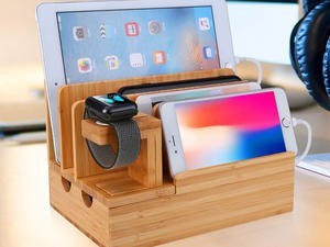 Take over 50% off this bamboo charging station and organize your devices