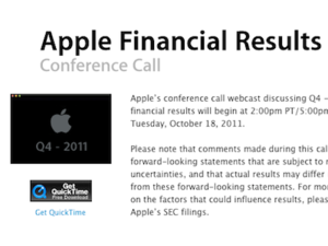 Apple's Q4 2011 Conference Call Scheduled For Oct 18