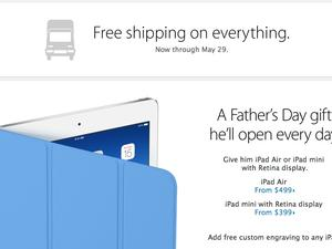 Apple Offers Free Shipping Through May 29