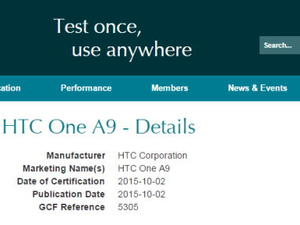 HTC One A9 name confirmed in certification filings