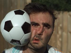 You have to watch this dude get hit with a soccer ball in super slow motion