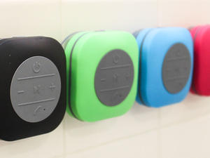 Blast jams and take calls in the shower with this extra large shower speaker