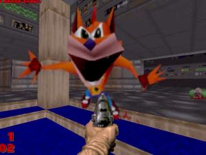 "Crash Bandicoot ""WHOA"" meme replaces every demon in DOOM"