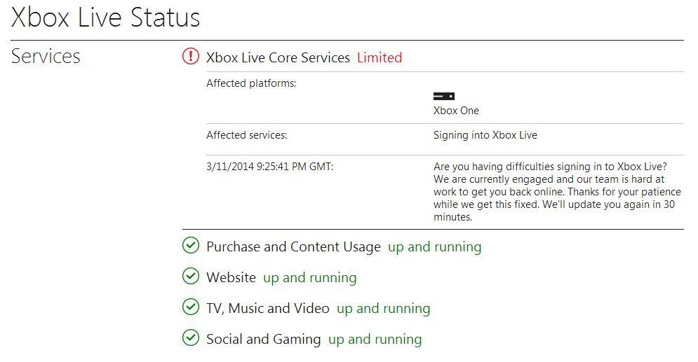 Xbox Live Core Services Currently 'Limited' (Updated: Fix