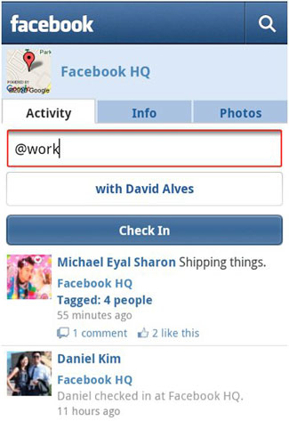 Facebook Places for Android