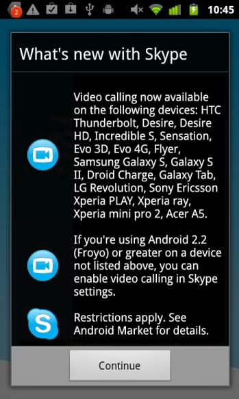 Skype 2.1 update for Android