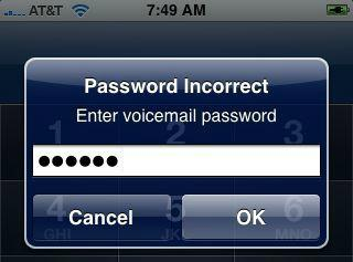 voicemail password
